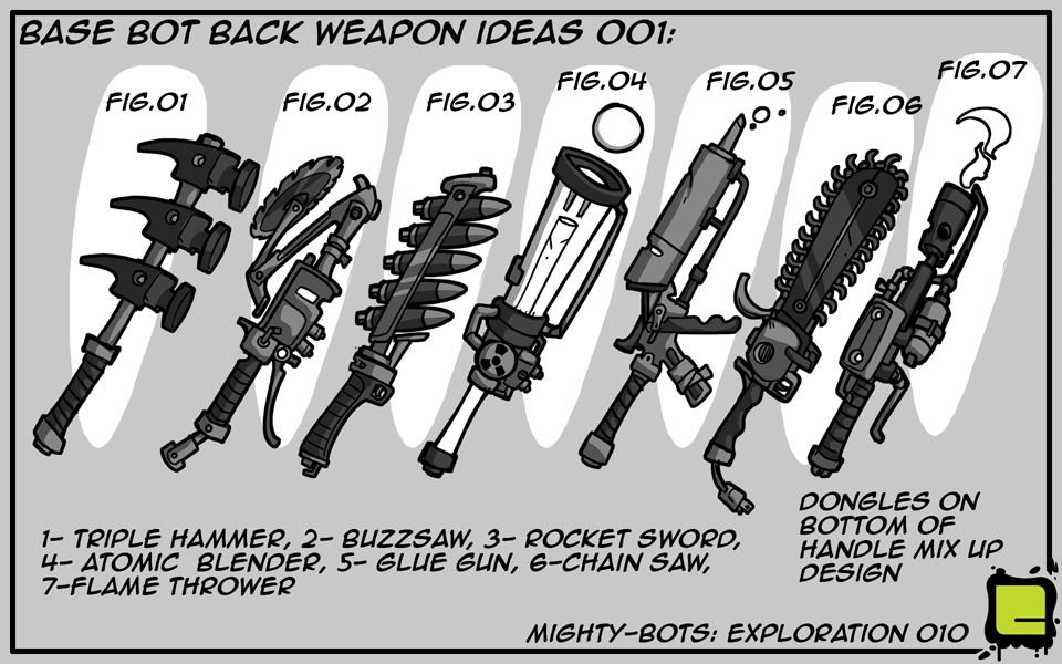 Mighty Bots: Base Bot Back Weapon Ideas